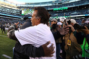 Head coach Todd Bowles of the New York Jets and head coach Jeff Fisher of the Los Angeles Rams embrace after the Rams won 9-6 at MetLife Stadium on November 13, 2016 in East Rutherford, New Jersey.