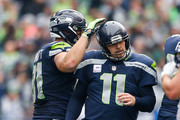 Kicker Sebastian Janikowski #11 of the Seattle Seahawks celebrates after a kick in the first half against the Los Angeles Rams at CenturyLink Field on October 7, 2018 in Seattle, Washington.