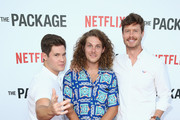 """(L-R) Adam DeVine, Blake Anderson and Anders Holm attend the Los Angeles special screening & after party For The Netflix Film """"The Package"""" at El Cid on August 7, 2018 in Los Angeles, California."""