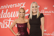 "Michelle Vicary and Kristin Chenoweth arrives at the Los Angeles special screening of Hallmark Channel's ""A Christmas Love Story"" at Montage Beverly Hills on October 21, 2019 in Beverly Hills, California."