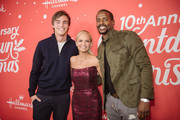 "Kevin Quinn, Kristin Chenoweth, and Keith Robinson arrive at the Los Angeles special screening of Hallmark Channel's ""A Christmas Love Story"" at Montage Beverly Hills on October 21, 2019 in Beverly Hills, California."