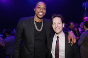 """Dwight Howard (L) and Paul Rudd attend the Los Angeles World Premiere of Marvel Studios' """"Avengers: Endgame"""" at the Los Angeles Convention Center on April 23, 2019 in Los Angeles, California."""