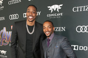 """(L-R) Dwight Howard and Anthony Mackie attend the Los Angeles World Premiere of Marvel Studios' """"Avengers: Endgame"""" at the Los Angeles Convention Center on April 23, 2019 in Los Angeles, California."""
