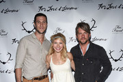 Actor Pablo Schreiber, Betsy Phillips and Zachary Knighton attend For Love and Lemons annual SKIVVIES party co-hosted by Too Faced and performance by The Shoe at The Carondelet House on July 31, 2014 in Los Angeles, California.