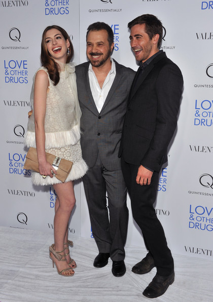"Actress Anne Hathaway, director Ed Zwick and actor Jake Gyllenhaal attend a screening of ""Love & Other Drugs"" at DGA Theater on November 16, 2010 in New York City."