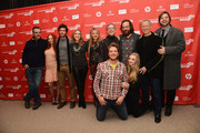 """(Clockwise from L-R) Actors Chris Noth, Juno Temple and Adam Brody, producers Laura Rister and Heidi Jo Markel, co-director Jeffrey Friedman, actor Peter Sarsgaard, co-director Rob Epstein, producer Jim Young and actors Amanda Seyfried and Brian Gattas attend the """"Lovelace"""" premiere at Eccles Center Theatre during the 2013 Sundance Film Festival on January 22, 2013 in Park City, Utah."""