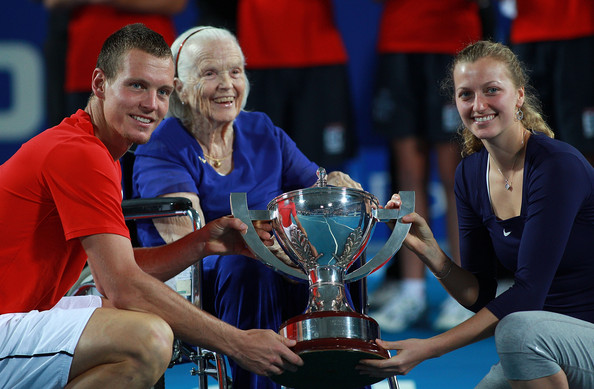 Lucy Hopman Petra Kvitova and Tomas Berdych of the Czech Republic pose with the Hopman Cup and Lucy Hopman after defeating Marion Bartoli and Richard Gasquet of France during day eight of the 2012 Hopman Cup at The Burswood Dome on January 7, 2012 in Perth, Australia.