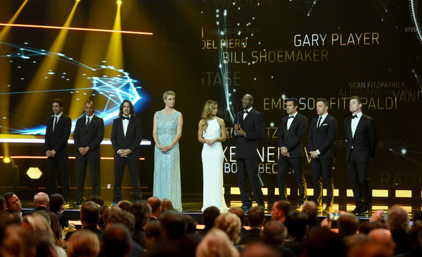 Show -  2016 Laureus World Sports Awards - Berlin [event,performance,crowd,lighting,stage,night,formal wear,music,audience,ceremony,edwin moses,members,maria hoefl-riesch,carles puyol,cafu,raul,alessandro del piero,luis figo,laureus world sports awards,messe berlin]