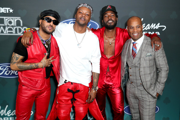 BET Presents: 2019 Soul Train Awards -  Backstage And Audience [red,event,performance,team,rapper,audience,guest,luke james,ro james,bj the chicago kid,backstage,l-r,orleans arena,las vegas,bet presents: 2019 soul train awards]