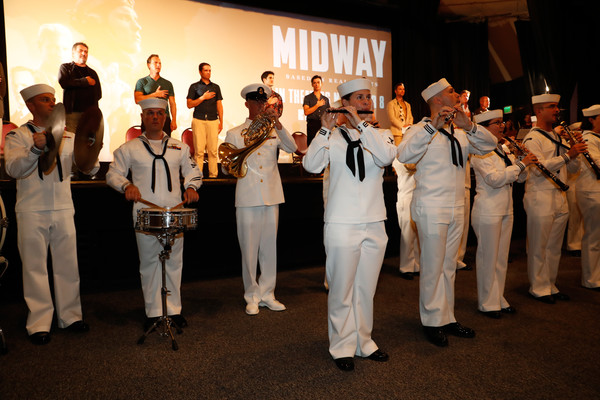 'Midway' Special Screening - Joint Navy Base Pearl Harbor - Hickam [national anthem,event,uniform,team,musician,performance,military officer,military,marching band,crowd,navy base,joint base pearl harbor-hickam,midway special screening - joint,midway,hawaii,band,us navy,pearl harbor,screening]