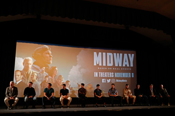 'Midway' Special Screening - Joint Navy Base Pearl Harbor - Hickam [stage,projection screen,auditorium,event,theatre,heater,performance,performance art,performing arts,projector accessory,navy base,cast,joint base pearl harbor-hickam,midway special screening - joint,midway,hawaii,honolulu,screening,pearl harbor]