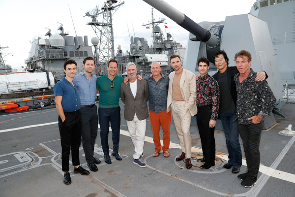 'Midway' Special Screening - Joint Navy Base Pearl Harbor - Hickam [vehicle,team,ship,naval architecture,aerospace engineering,crew,company,roland emmerich,navy base,patrick wilson,luke kleintank,keean johnson,midway special screening - joint,hickam,l-r,midway,pearl harbor]