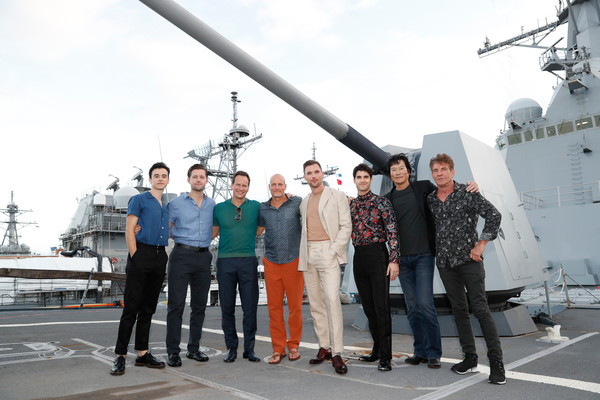 'Midway' Special Screening - Joint Navy Base Pearl Harbor - Hickam [guided missile destroyer,destroyer,vehicle,ship,destroyer escort,warship,naval ship,amphibious transport dock,battleship,navy,midway special screening - joint,hickam,l-r,pearl harbor,navy base,patrick wilson,woody harrelson,luke kleintank,keean johnson,ed skrein]