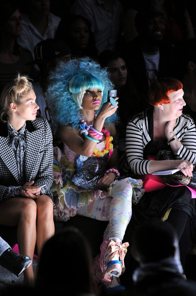 Betsey Johnson - Front Row - Spring 2012 Mercedes-Benz Fashion Week [performance,event,fashion,performing arts,stage,fun,performance art,audience,leisure,party,jessica hart,betsey johnson,lynn yaeger,nicki minaj,front row,lincoln center,new york city,the theater,mercedes-benz fashion week,fashion show]