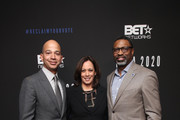 (L-R) BET President Scott Mills, Senator Kamala Harris and NAACP CEO Derrick Johnson attend META - Convened by BET Networks at The Edition Hotel on February 20, 2020 in Los Angeles, California.