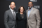 (L-R) BET President Scott Mills, Senator Kamala Harris and NAACP Derrick Johnson attend META - Convened by BET Networks at The Edition Hotel on February 20, 2020 in Los Angeles, California.