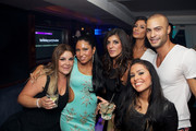 MIAMI MONKEY Cast members (L-R) Roxanne, Marissa, Raquel, Morgan (back row), Cristina (front row) and Nate Ryan attend the MIAMI MONKEY Premiere Party Presented By JustJenn Productions And The Weinstein Company at 49 Grove on September 8, 2013 in New York City.