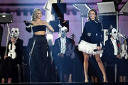 Anne Marie and Zara Larsson perform on stage with Clean Bandit during the MTV EMAs 2017 held at The SSE Arena, Wembley on November 12, 2017 in London, England.