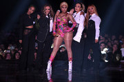 igh-Anne Pinnock and Jade Thirlwall of Little Mix, Nicki Minaj, Perrie Edwards and Jesy Nelson of Little Mix perform on stage during the MTV EMAs 2018 at Bilbao Exhibition Centre on November 4, 2018 in Bilbao, Spain.
