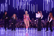 Leigh-Anne Pinnock and Jade Thirlwall of Little Mix, Nicki Minaj, Perrie Edwards and Jesy Nelson of Little Mix perform on stage during the MTV EMAs 2018 at Bilbao Exhibition Centre on November 04, 2018 in Bilbao, Spain.