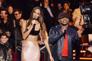 Sway Calloway and Joan Smalls present the Best Rock Award on stage during the MTV EMAs 2019 at FIBES Conference and Exhibition Centre on November 03, 2019 in Seville, Spain.