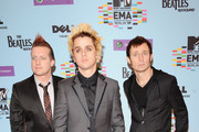 L-R Tre Cool, Billy Joel Armstrong and Mike Dirnt of Green Day arrive for the 2009 MTV Europe Music Awards held at the O2 Arena on November 5, 2009 in Berlin, Germany.