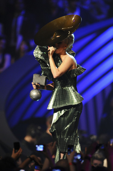 Singer Lady Gaga receives the Best Song award for 'Born This Way' onstage during the MTV Europe Music Awards 2011 live show at at the Odyssey Arena on November 6, 2011 in Belfast, Northern Ireland.