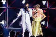 Hugo Gloss and Sabrina Sato on stage during MTV MIAW 2019 at Credicard Hall on July 3 , 2019 in Sao Paulo, Brazil.