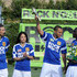 """(L-R) Team Locura United Marcelo Balboa, Michelle Rodriguez, Jesse Williams and Akon celebrate their win at MTV Tr3s's """"Rock N' Gol"""" World Cup Kick-Off at the Home Depot Center on March 31, 2010 in Carson, California."""