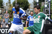 "Singer Akon (L) faces up against Tab Ramos at MTV Tr3s's ""Rock N' Gol"" World Cup Kick-Off at the Home Depot Center on March 31, 2010 in Carson, California."