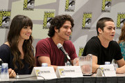 "(L-R) Actors Crystal Reed, Tyler Posey and Dylan O'Brien speak at MTV's ""Teen Wolf"" panel at Comic-Con 2011 held at the San Diego Convention Center on July 23, 2011 in San Diego, California."