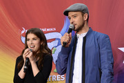 Anna Kendrick and Justin Timberlake speak onstage at the Macy's Celebration of Trolls At Herald Square With Justin Timberlake And Anna Kendrick at Macy's Herald Square on October 6, 2016 in New York City.
