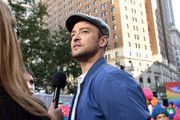 Justin Timberlake gives an interview at the Macy's Celebration of Trolls At Herald Square With Justin Timberlake And Anna Kendrick at Macy's Herald Square on October 6, 2016 in New York City.