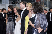 """Zoe Kravitz,,Nicholas Hoult,Charlize Theron, and Georges Miller attend Premiere of """"Mad Max: Fury Road"""" during the 68th annual Cannes Film Festival on May 14, 2015 in Cannes, France."""