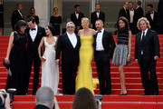 "Nicholas Hoult, Zoe Kravitz, Georges Miller, Charlize Theron,Tom Hardy and Doug Mitchell attend Premiere of ""Mad Max: Fury Road"" during the 68th annual Cannes Film Festival on May 14, 2015 in Cannes, France."