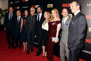 "Josh Sapan, Matthew Weiner, January Jones, John Slattery, Jon Hamm, Elisabeth Moss and Christina Hendricks, Charlie Collier and Ed Carroll attend the ""Mad Men"" New York Special Screening at The Museum of Modern Art on March 22, 2015 in New York City."