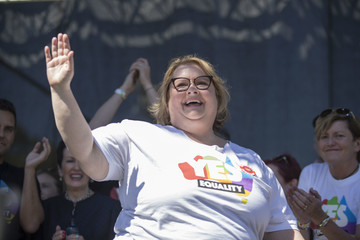 Magda Szubanski Australians Gather to Hear Result of Marriage Equality Survey
