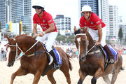 Nacho Figueras and Billy Slater ride horses on Surfers Paradise beach during the 2020 Magic Millions official draw at Surfers Paradise Foreshore on January 07, 2020 in Gold Coast, Australia.