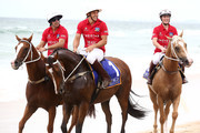 Nacho Figueras, Billy Slater and Zara Tindall ride horses on Surfers Paradise beach during the 2020 Magic Millions official draw at Surfers Paradise Foreshore on January 07, 2020 in Gold Coast, Australia.