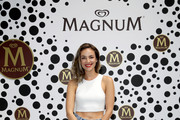 """Janina Uhse attends the """"Magnum House of Play"""" photocall at Elisabethkirche on June 19, 2019 in Berlin, Germany."""
