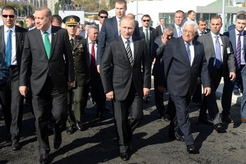 Mahmoud Abbas Russian President Vladimir Putin Attends Moscow Cathedral Mosque Opening