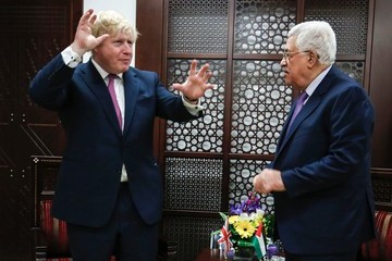Mahmoud Abbas British Foreign Secretary Boris Johnson Meets With Palestinian President Mahmoud Abbas