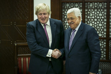 Mahmoud Abbas Foreign Secretary Boris Johnson Meets Palestinian President In The West Bank