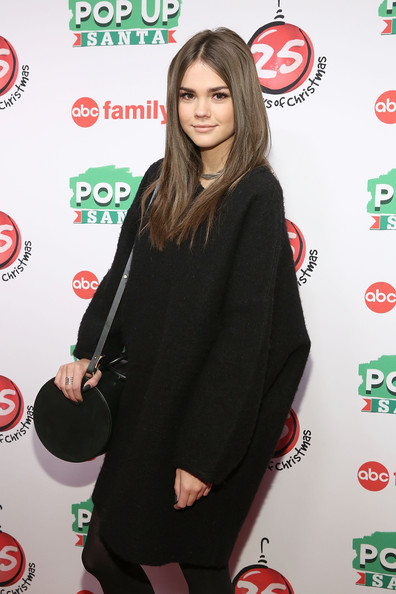 "ABC's ""25 Days Of Christmas"" Celebration [25 days of christmas,green,red,long hair,red carpet,outerwear,carpet,flooring,premiere,brown hair,dress,maia mitchell,cucina,new york city,rockerfellar center,abc,celebration]"