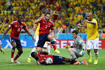 Maicon Julio Cesar Brazil v Colombia: Quarter Final - 2014 FIFA World Cup Brazil