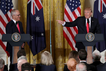 Malcom Turnbull President Trump Holds Joint Press Conference With Australian PM Turnbull