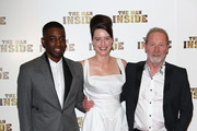 (L-R) Ashley Thomas, Michelle Ryan and Peter Mullan attend the premiere of 'The Man Inside' at Vue Leicester Square on July 24, 2012 in London, England.