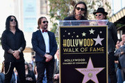 Musicians Alex Gonzalez, Sergio Vallin, Juan Calleros and Fher Olvera of the Mexican rock band Maná attend a ceremony honoring them with the 2,573rd Star on the Hollywood Walk of Fame on February 10, 2016 in Hollywood, California.