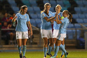Jill Scott of Manchester City celebrates with team mates after scoring their second goal during the UEFA Women's Champions League match between Manchester City Ladies and St. Polten Ladies at Manchester City Football Academy on October 12, 2017 in Manchester, England.
