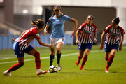Jill Scott of Manchester City Women runs with the ball during the Womens UEFA Champions League 2nd Leg match between Manchester City Women and Atletico Madrid Femenino at Manchester City Football Academy on September 26, 2018 in Manchester, England.